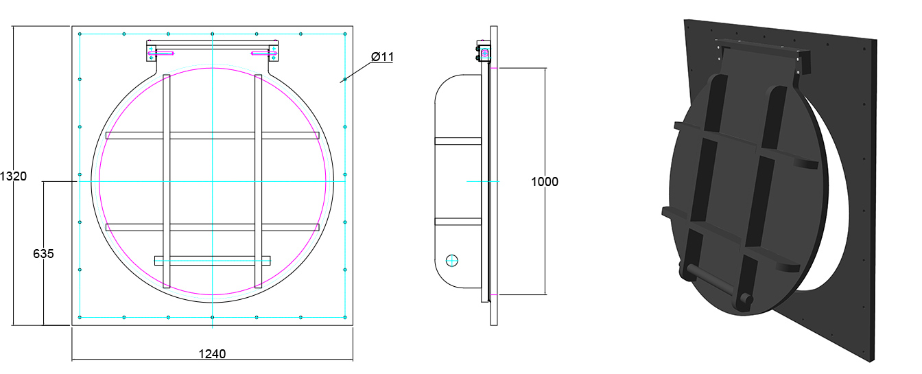 Althon HDPE 1000mm Flap Valve line drawing
