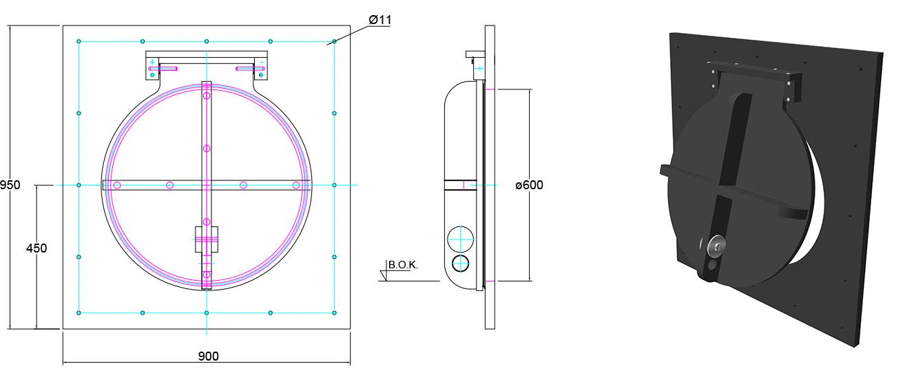 Althon HDPE 600mm Flap Valve line drawing
