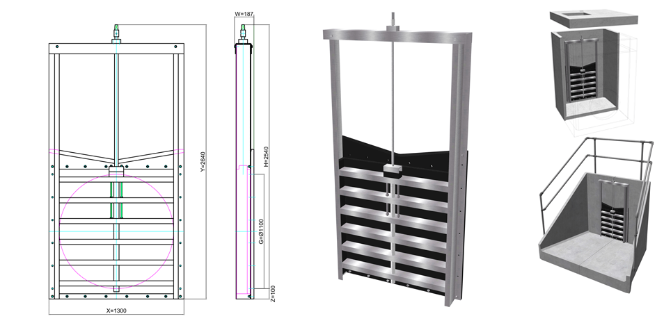 1100mm HDPE Penstock line drawing