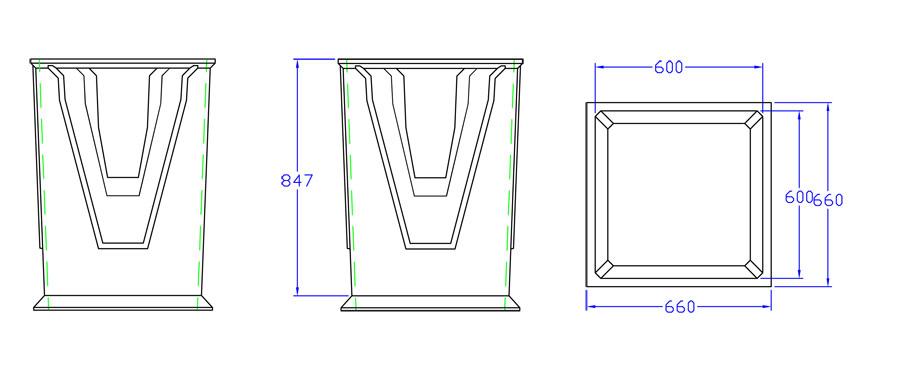 Silt Pit 600mm x 600mm x 900mm line drawing